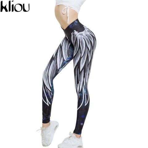 Kliou 2017 Harajuku wing Print Leggins Push Up Fitness Sexy Cartoon 3d Graffiti Women Casual Funnysporting Leggings