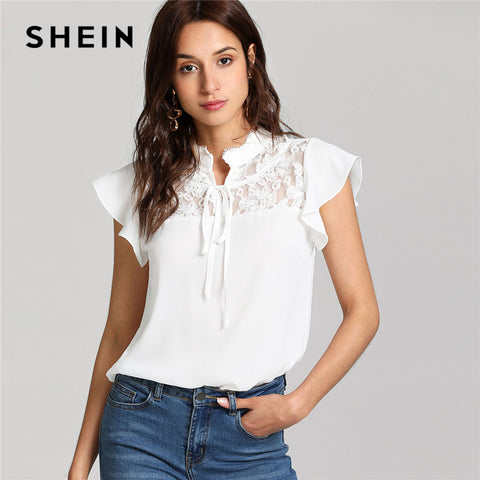 9ee2532d5e SHEIN White Knot Floral Lace Yoke Top Women Stand Collar Ruffle Butterfly  Sleeve Plain Blouse 2018