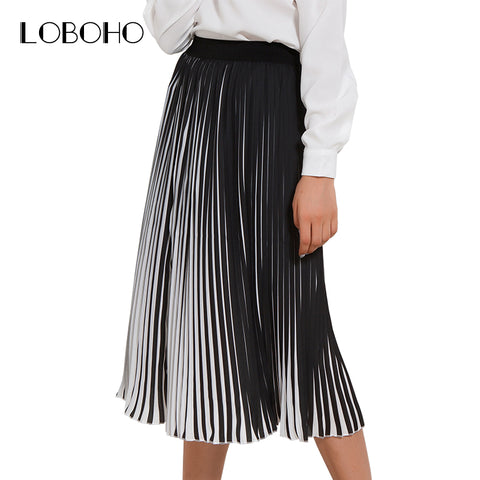 b964d70761 Casual Pleated Skirts Womens Spring 2018 New Fashion Chiffon Long Skirt  Black And White Striped Elastic