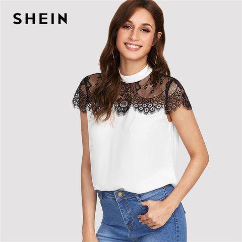 fff2d6a15aa SHEIN Lace Yoke Keyhole Back Top Women Patchwork Stand Collar Short Sleeve  Button Casual Blouse 2018