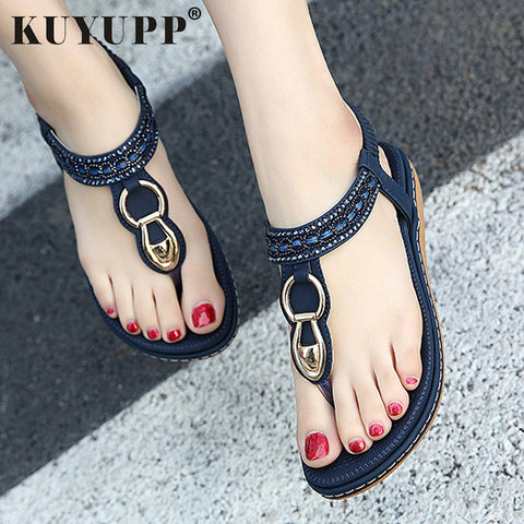 KUYUPP Fashion Leather Women Sandals Bohemian Diamond Slippers Woman Flats Flip Flops Shoes Summer Beach Sandals size10 YDT563