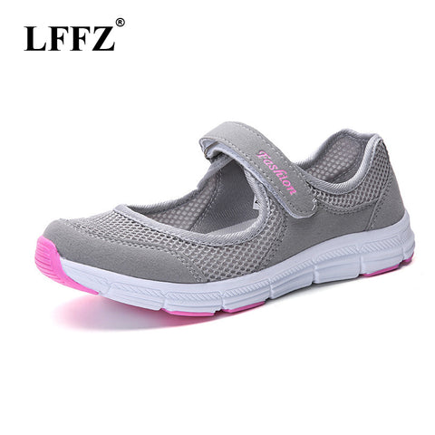 LFFZ Size 35-40 2018 New Fashion Spring Women Soft Sneakers Woman Air Mesh Cool Casual Shoes Female Leisure Black Flats JH131