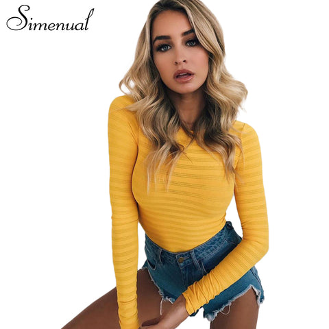 Simenual Autumn winter long sleeve sexy bodysuit striped slim yellow body for women casual bandage jumpsuit fitness bodysuits
