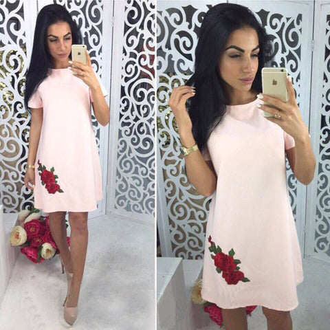 2018 Summer Fashion Rose Appliques Simple Style Straight Dress Woman O-neck  Short Sleeve Casual 85ab253d34a2