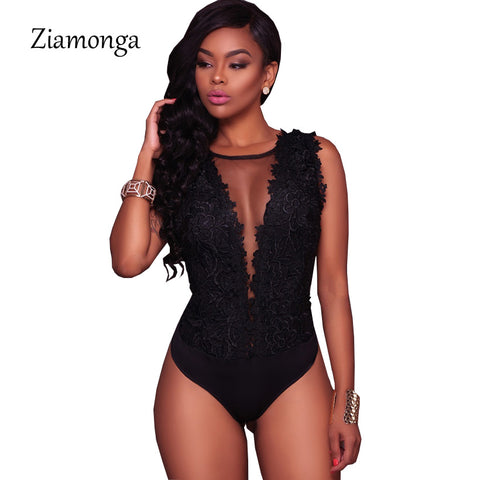Ziamonga Sexy Black Lace Bodysuit Women O-Neck Mesh Jumpsuits Romper Backless Embroidery Ladies Body Dentelle Shorts Playsuits