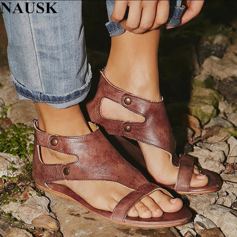 NAUSK 2018 Summer Fashion  Women Sandals Flats Cork Gladiator Beach Shoes Rivet  Sandals  Zapatos Mujer Sandalias Plus Size 42