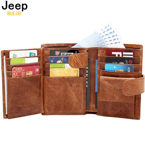 Jeep Brand Genuine Cow Leather Men Wallet Fashion Coin Pocket Trifold Design Men Purse High Quality Women Card ID Holder 8230