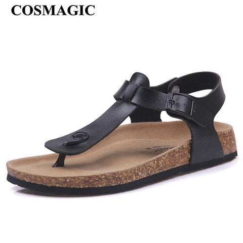 COSMAGIC Fashion Cork Sandals 2018 New Women Summer Buckle Strap Solid Beach Slipper Flip Flops Sandals Shoe Flat with Plus Size