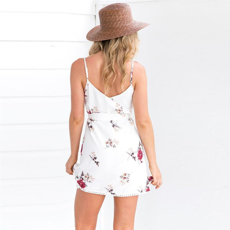 491dd72dc364f7 ... 2018 Summer Spaghetti Strap Floral Dress Women Sexy Beach Tank Top  Sundresses White Casual Elegant Mini