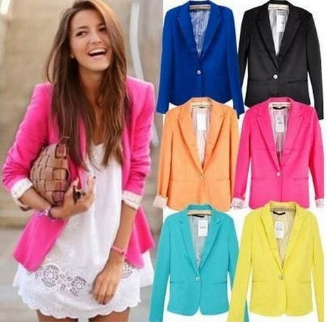 Spring Women Blazers Jackets Small Chiffon Suit Jacket Candy Color Long Sleeve Slim Suit Button Women Basic Jackets WWT10739