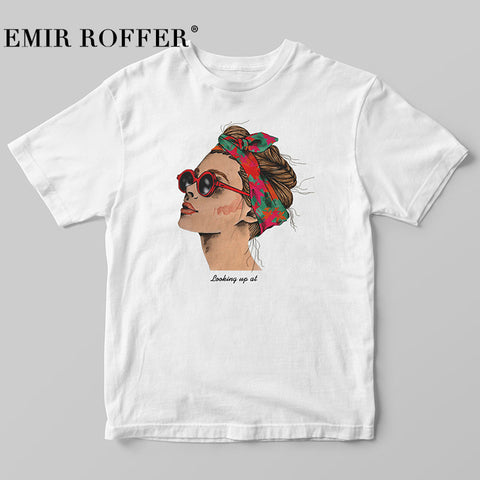 653938fd1 EMIR ROFFER 2018 Fashion Cool Print Female T-shirt White Cotton Women  Tshirts Summer Casual
