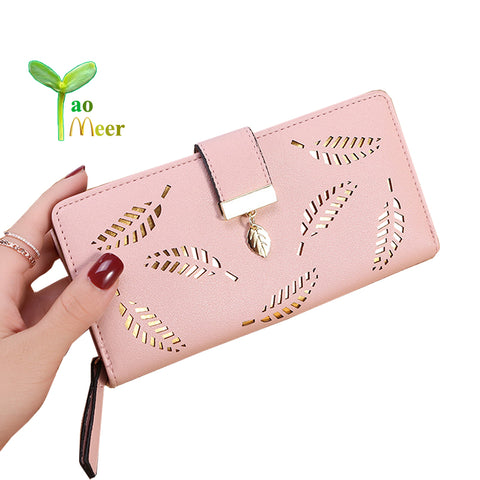 2018 Women Wallet Purse Female Long Wallets Hollow Leave Pouch Handbag For Women Coin Purses Card Holder Portefeuille Femme BY46