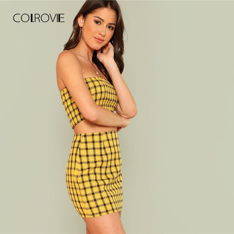 COLROVIE Plaid Print Shirred Strapless Crop Top And Skirt Set 2018 Summer Yellow Zipper Beach Two Piece Set Vacation Women Sets