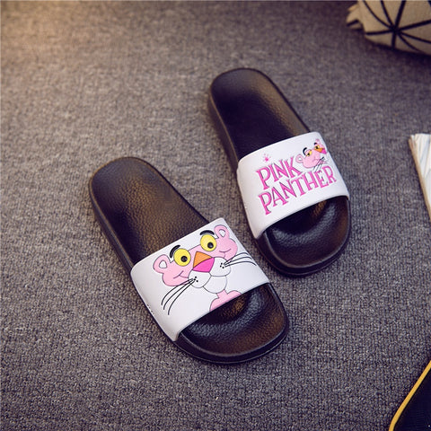 2018 women slippers Pink Leopard cartoon slippers female Summer slippers Slides flip flops Zapatillas Mujer diapositives slaps