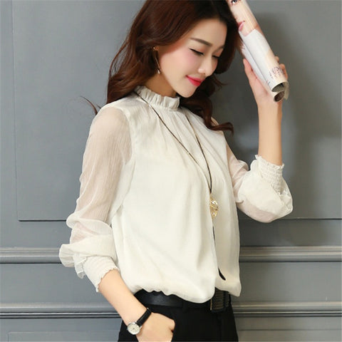 2c9f1764d3a660 2017 Fashion Spring Autumn Chiffon Blouse New Korean Casual Ruffle Collar Shirt  Long Sleeve Women Shirts