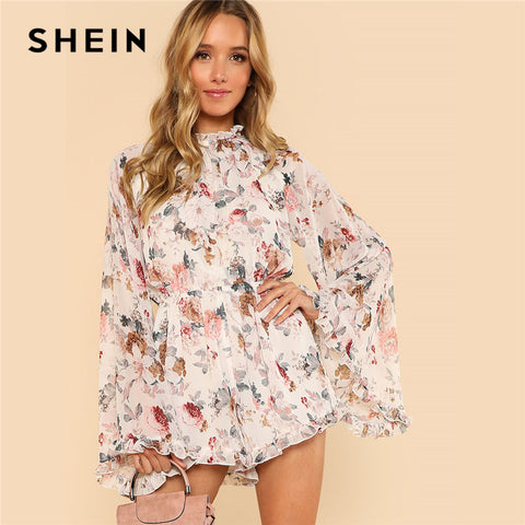 f6c1a68385 SHEIN Exaggerated Flare Sleeve Frill Flora Print Boho Romper 2018 Women  Stand Collar Long Sleeve Ruffle