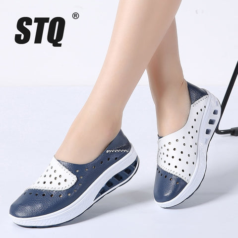 STQ 2018 Summer women genuine leather flats women platform sneakers creepers cutouts slip on flats moccasins shoes woman 7687