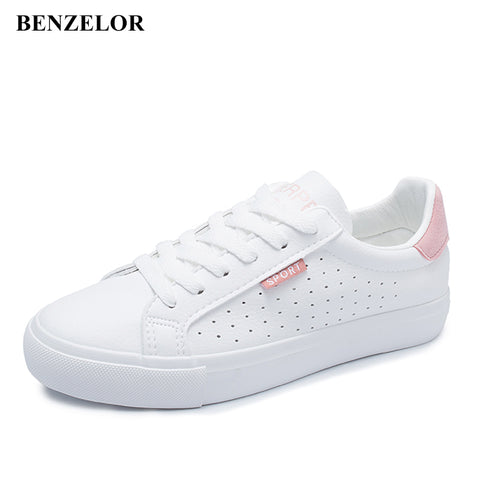 BENZELOR Summer Autumn Punching Breathable Casual Shoes Woman Sneakers Women Flat Fashion Korean Style Ladies Chaussures Femme