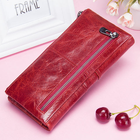 4796e7634648 Contact's Women Purses Long Zipper Genuine Leather Ladies Clutch Bags  With Cellphone