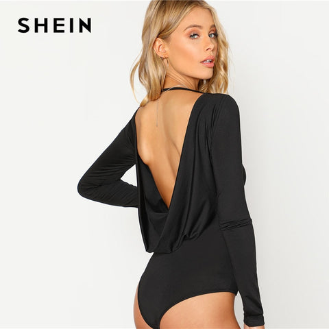 7ab2692235bc SHEIN Black Backless Solid Skinny Bodysuit Round Neck Open Back Long Sleeve  Draped Plain Women Rompers