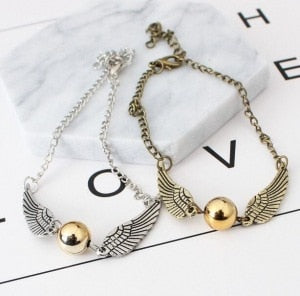 The New Quidditch Golden Snitch Pocket Bracelet Wings Vintage Retro Tone For Men And Women Wholesale
