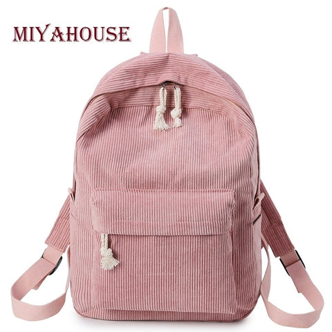 Miyahouse Preppy Style Soft Fabric Backpack Female Corduroy Design School  Backpack For Teenage Girls Striped Backpack 7f7fa10268