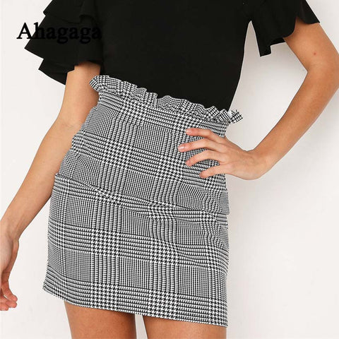 Ahagaga 2018 Summer Autumn Sexy Skirt Women Bottoms Fashion plaid A-line Ruffles Sexy Club Regular Outwear Women Skirts female