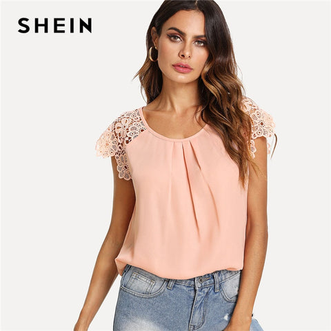 b5853843bb SHEIN Floral Lace Cap Sleeve Pleated Top Pink Scoop Neck Short Sleeve Women  Plain Blouse 2018