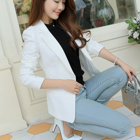 PEONFLY  Ladies Blazer Long Sleeve Blaser Women Suit jacket Female Feminine Blazer Femme Pink Blue White Black Blazer Autumn