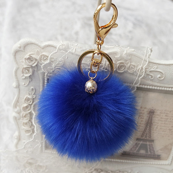Sale 2016 New Rabbit Fur Ball Keychain Bag Plush Trinket Car Key Ring Car Key Small Pendant llaveros Fast Shipping Feida