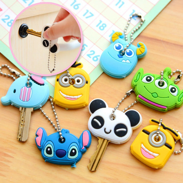 2017 Cartoon Silica Gel Key Chains Key Rings Piece Set Car Key Cover Holder  Men Women Keychain for Keys
