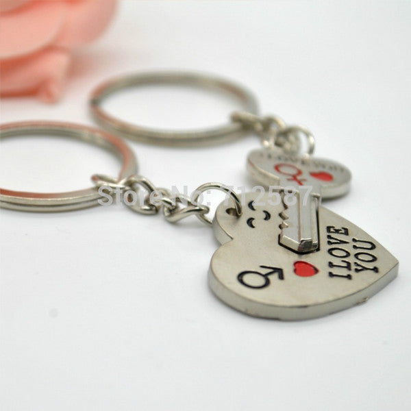 New Couple I LOVE YOU Heart Keychain Ring Keyring Key Chain Lover Romantic Creative Birthday Gift
