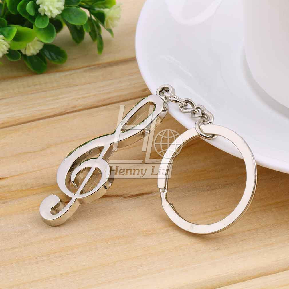 1pc key ring key chain Silver Plated  musical note keychain for car metal music symbol key chains