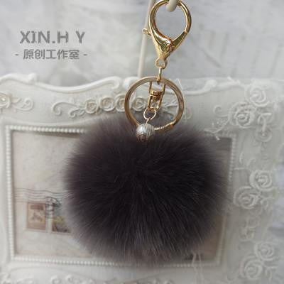 8cm Fluffy Keychain Fur Pom Pom Key Chain Faux Rabbit Hair Trinket For Bag Car Fur Ball Key Ring Golden Chaveiro llaveros