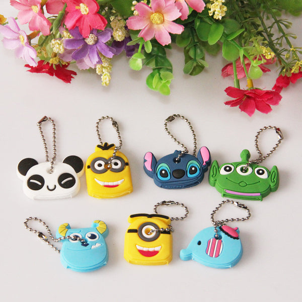Cartoon Anime Silicone Cute Minion Owl Key Cover Cap Fashion Keychain Women Chain Ring Holder Gifts