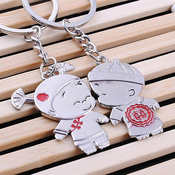 New 1 Pair Couple I LOVE YOU Letter Keychain Heart Key Ring Silver Plated Lovers Love Key Chain Souvenirs Valentine's Day gift