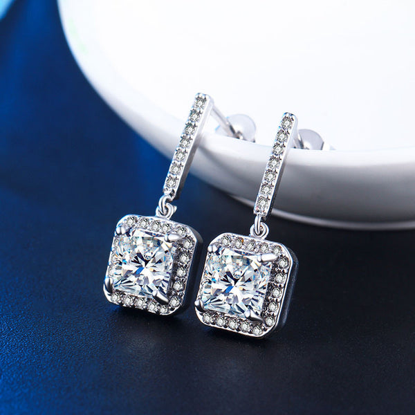 Iutopian Brand New Arrival Amazing Elegant Zirconia Earrings For Women Platinum Plated Anti Allergy Gift Jewelry #81898