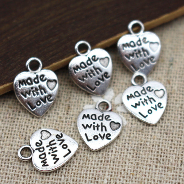 9*12MM 50pcs/lot Heart Shape Vintage Charms Silver/Bronze Plated MADE WITH LOVE CZ Pendants Necklace&Bracelet Diy Pendants Beads