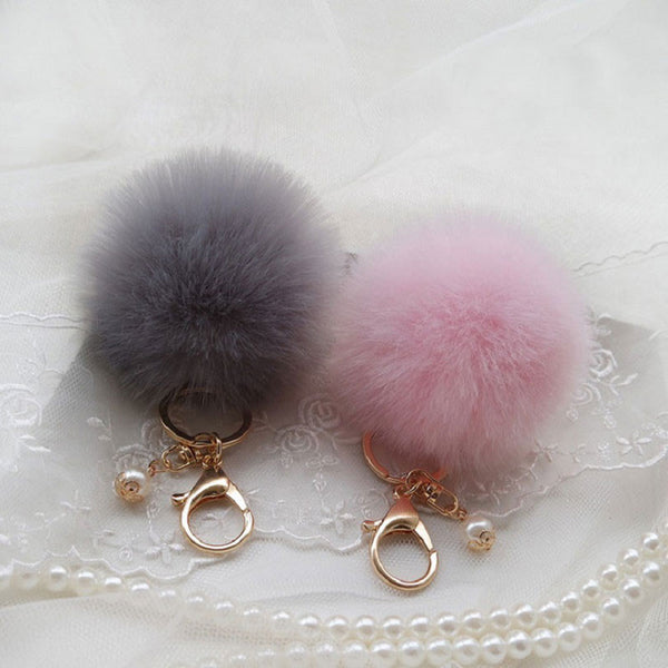 Hansel & Wang Cute Pompom Keychain Imitation Fur Pom Pom Keychain Car Bag Charm Fur Ball Key Chain Women Key Holder Keychains Q7
