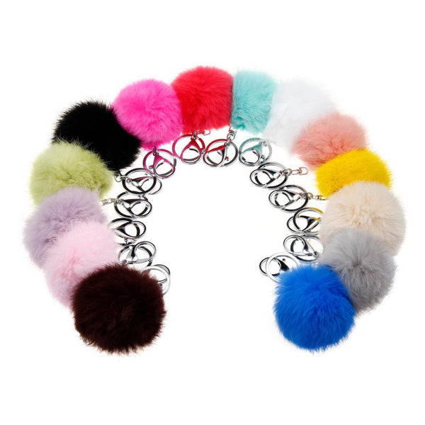 New Christmas gift fur ball key chain 14 colors 8CM ball fur pom pom keychain porta chiavi silver keychains male couples jewelry