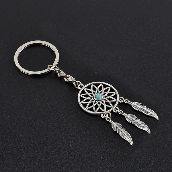 2016 Fashion Dream Catcher Tone Key Chain Silver Ring Feather Tassels Keyring Keychain For Gift Free Shipping GM572