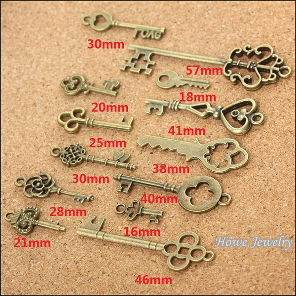 mix 39pcs vintage charms  key  Antique bronze Zinc Alloy Fit Bracelet Necklace DIY Metal Jewelry Findings 10011