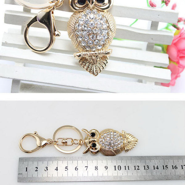 Brand HAVARIA fashion rhinestone owl Ms girl women keychain bag pendant quality chic Car key chain ring holder Jewelry bbk-002