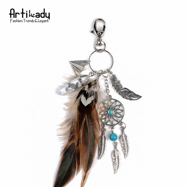 Artilady natural opal stone dreamcatcher keyring fashion silver boho jewelry feather keychain for women 2016 spring