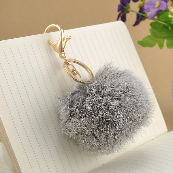 1 Pcs Lovely 8CM Rabbit fur ball plush key chain 6 Colors Ball Bag Car Ornaments Metal keychain Free shipping