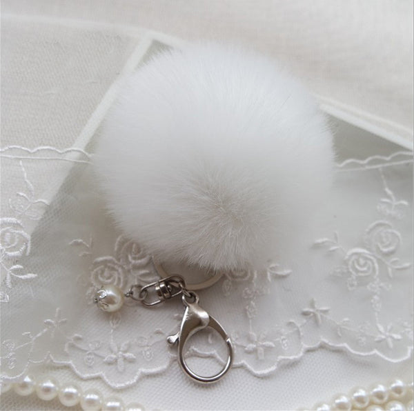 14 Colors Fur Ball Keychain With Pearl and 8cm Charm Pom Pom Pompom Silver Plated Keyring Key Chain for Bag or Hangbag #1781732
