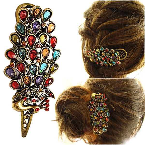 Hot Sale Women Beauty Vintage Colorful Crystal Rhinestone Peacock Hair Pin Hair Clip  zx*MHM258#c3