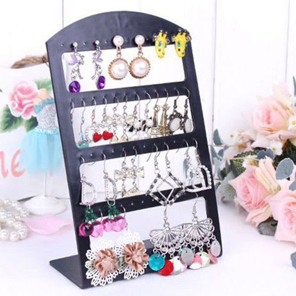 48 Holes Jewelry Organizer Stand Black Plastic Earring Holder Pesentoir Fashion Earrings Display Rack Etagere 2016 #30894