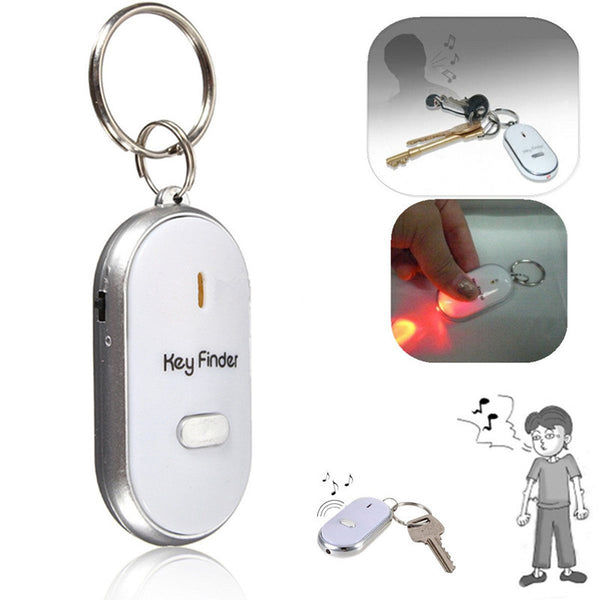 1PC Silver LED Key Finder Locator Find Lost Keys Chain Keychain Whistle Sound Control Key Holder Rings Women Men Jewelry
