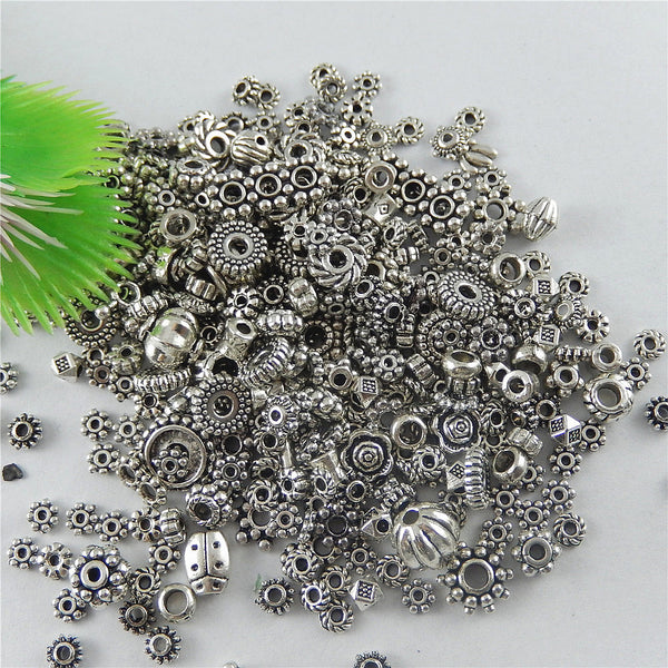100g (100pcs) Randomly Mixed Tibetan Silver Charms Dangle Metal Alloy Charm fit Pendant for jewelry making Handmade Craft GR-523
